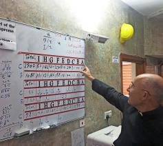 Een priester coördineert noodgedwongen de heropbouw van huizen in Qaraqosh. © Kerk in Nood