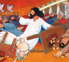 Jezus jaagt de verkopers uit de tempel © Roel Ottow