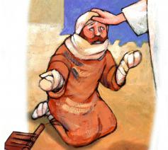 Jezus geneest een melaatse man © Roel Ottow