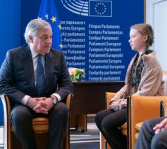 De Zweedse klimaatactiviste Greta Thunberg  te gast in het Europese Parlement © Persdienst EP