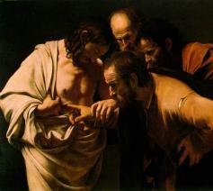 'De Ongelovige Thomas', Caravaggio (1602). © CC Wikimedia