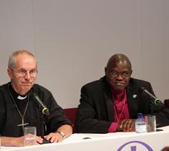De anglicaanse aartsbisschoppen Welby en Santamu © Aartsbisdom York