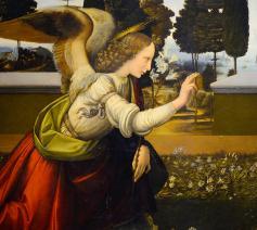 De Annunciatie (1475) ~ Leonardo da Vinci (1452-1519) © Wikimedia, Galleria degli Uffizi, Florence