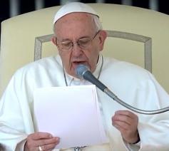 Paus Franciscus tijdens de algemene audiëntie van woensdag 5 april 2017 © CTV