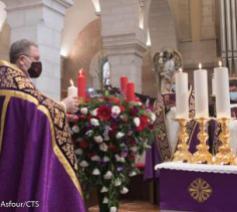 Pater Patton bij de start van de Advent in Bethlehem © Nadim Asfour/CTS