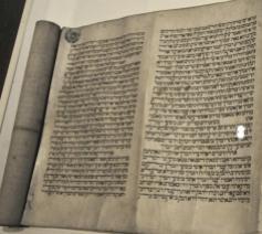 Bijbelrol tijdens de expo Heilig Schrift in Utrecht © Museum Catharijneconvent/Philippe Keulemans