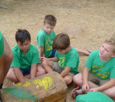 Bezinning op kamp van chirojongens Rooierheide
