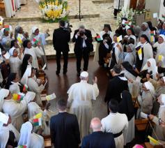 Paus Franciscus bloeide helemaal open tijdens de ontmoeting met de zusters © Vatican Media