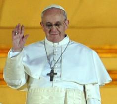 Paus Franciscus, bij zijn eerste publieke optreden © SIR