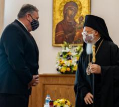 Minister Pompeo en de oecumenische patriarch © Risu