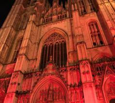 De Brusselse kathedraal kleurt rood voor christenen in Midden-Oosten © Tommy Scholtes