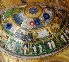 Een van de meest indrukwekkende voorbeelden van Byzantijnse mozaïekkunst beeldt de schepping uit in een koepel van de 'Gouden Kerk' in Venetië. © Michael Vadon / CC Flickr