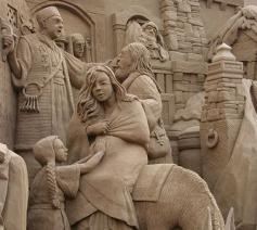 Bijbels tafereel in zand © A.N.N.A. op Pinterest