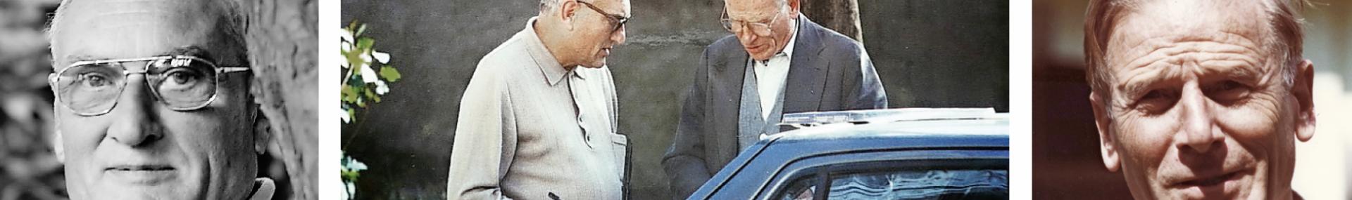 Charles Deckers (rechts) met zijn confrater Eric Bladt op de binnenkoer van Tizi Ouzou in Kabylië, waar pater Deckers op 27 december 1994 werd neergeschoten © RR