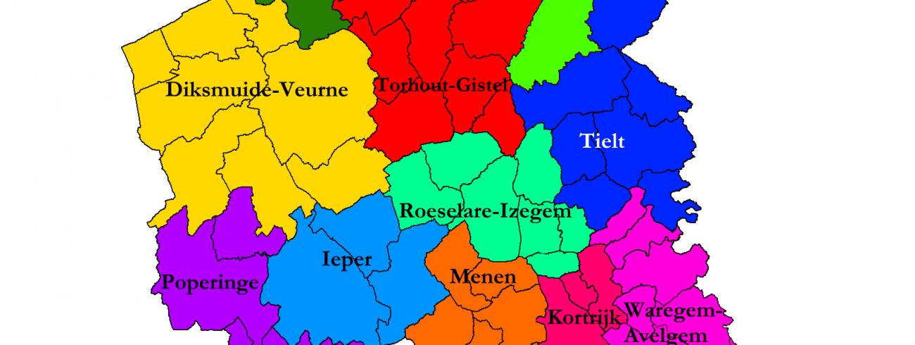 De elf decanaten van het bisdom Brugge met naam (situatie september 2021) © Michiel Van Mulders