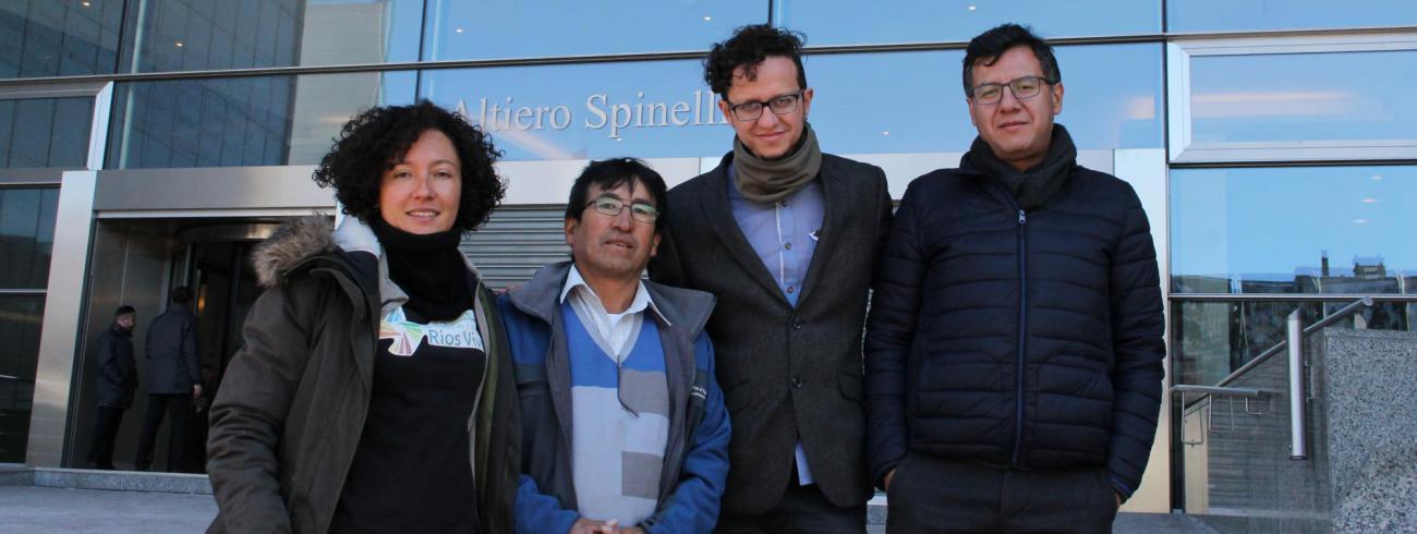 Vier activisten uit de Andes lobbytour 2018. © rr
