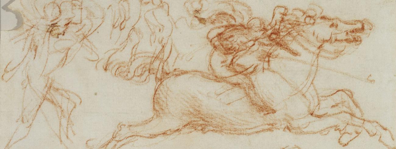 Leonardo da Vinci, schetsen van de Florentijnse cavalerie voor  De Slag bij Anghiari, circa 1503-'04.  © Royal Collection Trust