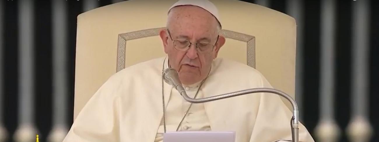 Paus Franciscus tijdens de algemene audiëntie op woensdag 30 augustus 2017 © CTV
