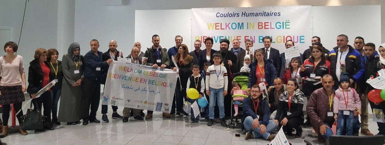 Op de luchthaven van Zaventem zijn vanochtend de laatste 49 Syrische vluchtelingen in het kader van de zogeheten humanitaire corridor veilig geland © Sant'Egidio