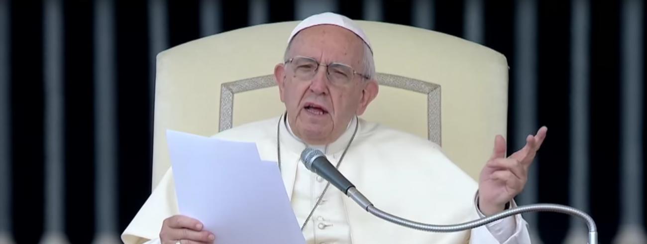 Paus Franciscus tijdens zijn catechese op de algemene audiëntie van woensdag 13 juni 2018 © VaticanMedia