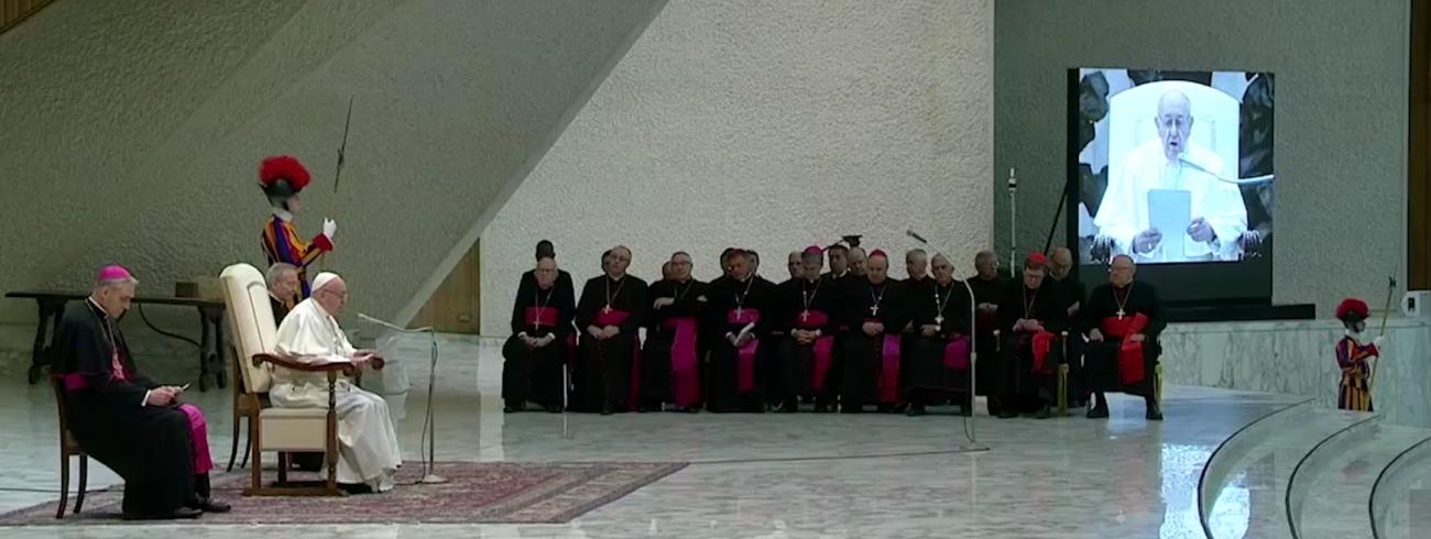 Paus Franciscus tijdens zijn catechese over het Onzevader op de algemene audiëntie van woensdag 16 januari 2019 © VaticanMedia