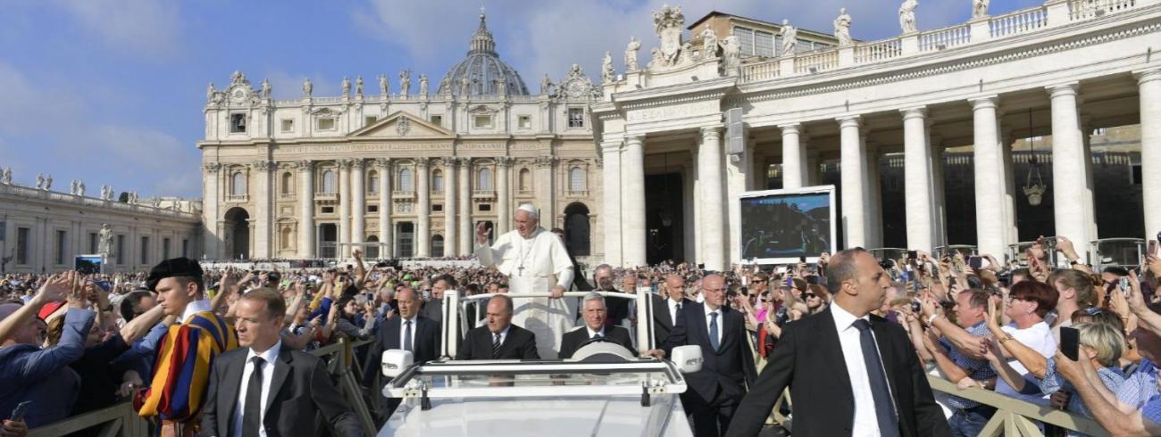 Paus Franciscus tijdens de algemene audiëntie van woensdag 2 oktober 2019 © VaticanMedia