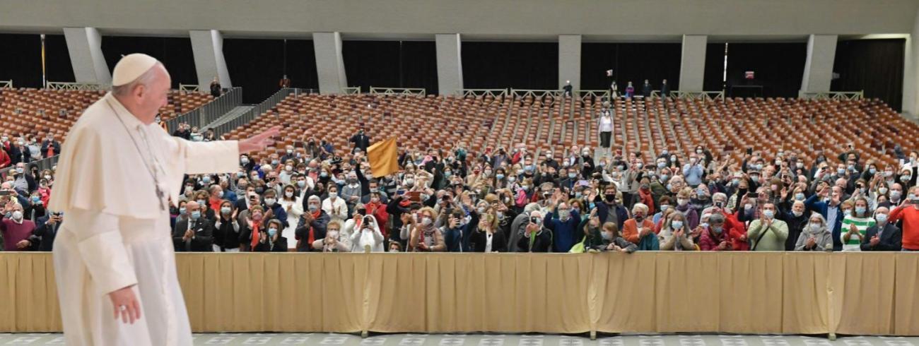 Paus Franciscus tijdens de algemene audiëntie van woensdag 21 oktober 2020 © VaticanMedia
