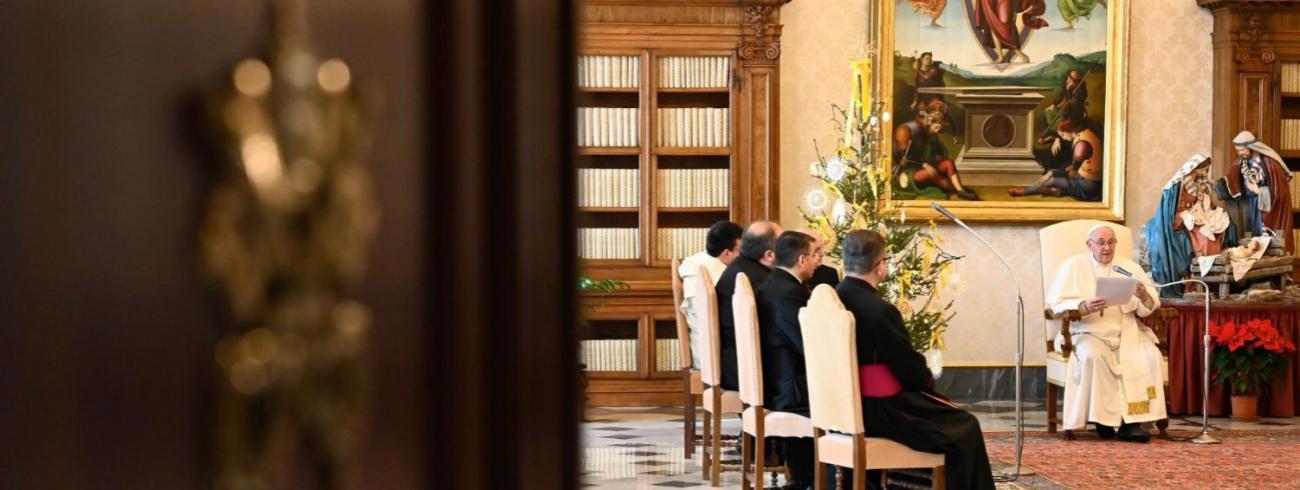 Paus Franciscus tijdens de algemene audiëntie van woensdag 30 december 2020 © VaticanMedia