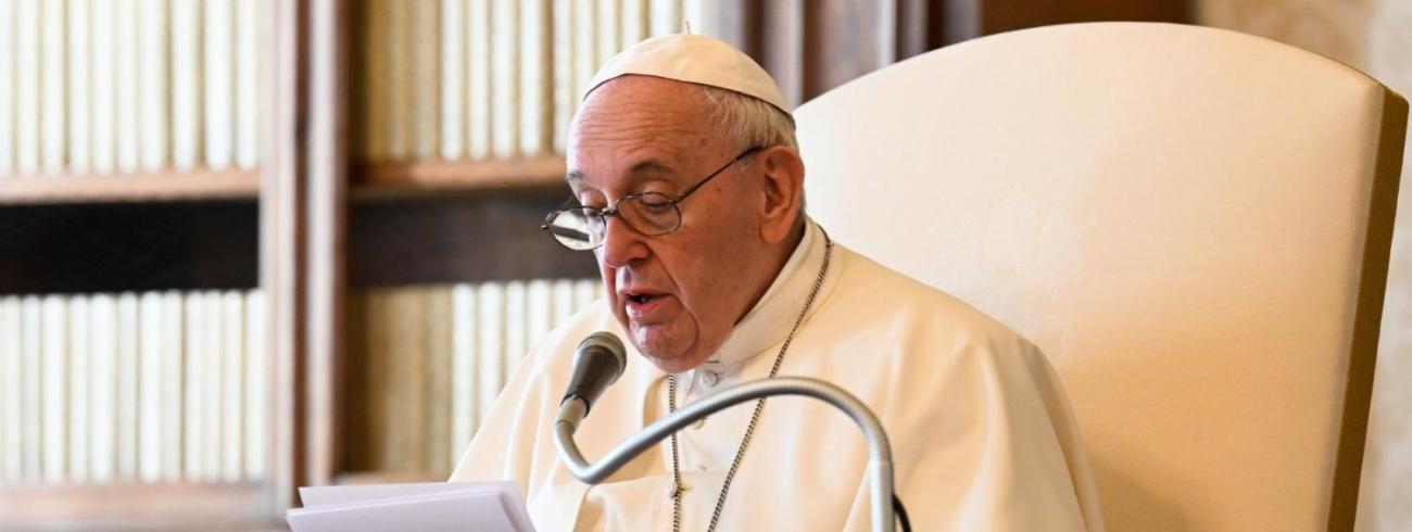 Paus Franciscus tijdens de algemene audiëntie van woensdag 24 maart 2021 © VaticanMedia