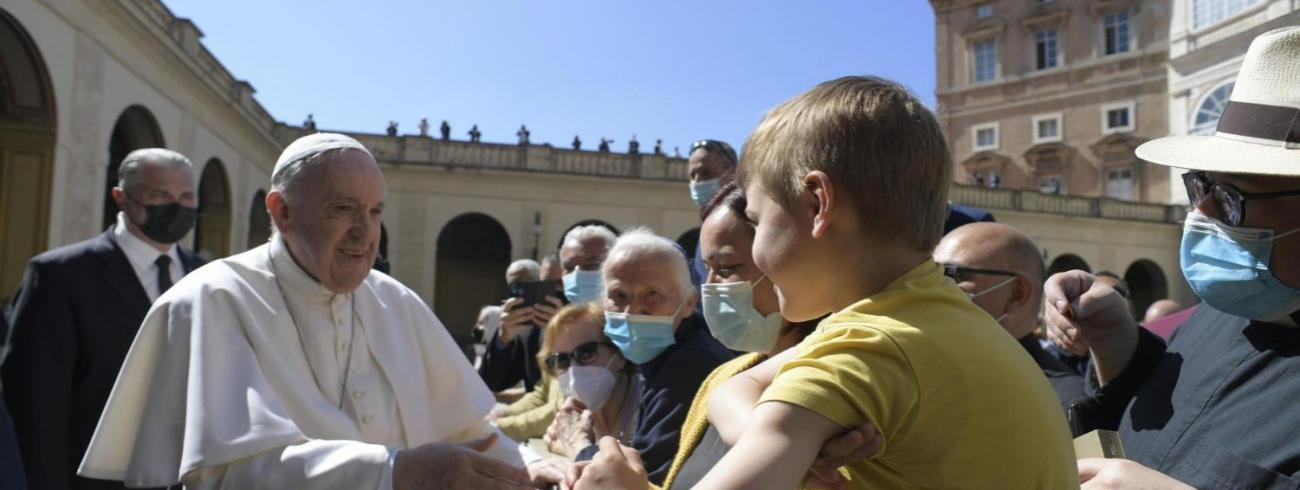 Paus Franciscus tijdens de algemene audiëntie van woensdag 26 mei 2021 © VaticanMedia