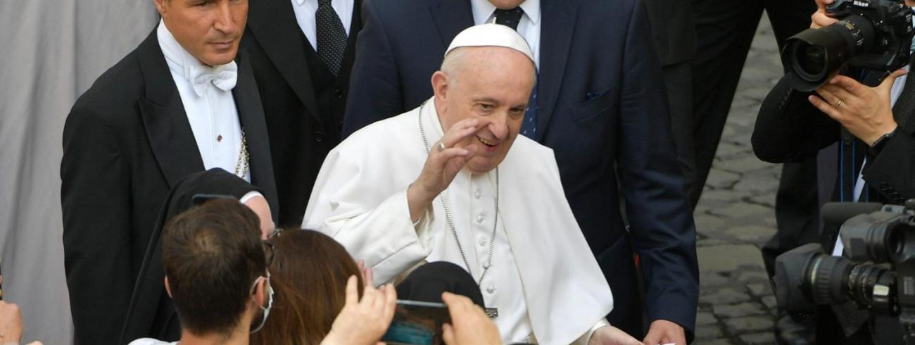 Paus Franciscus tijdens de algemene audiëntie van woensdag 9 juni 2021 © VaticanMedia