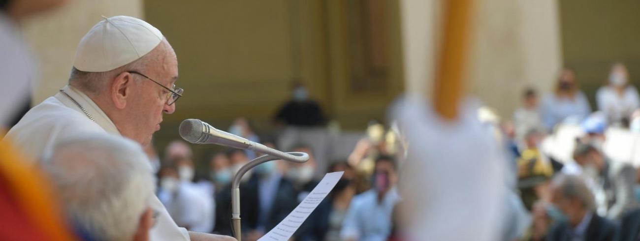 Paus Franciscus tijdens de algemene audiëntie van woensdag 16 juni 2021 © VaticanMedia