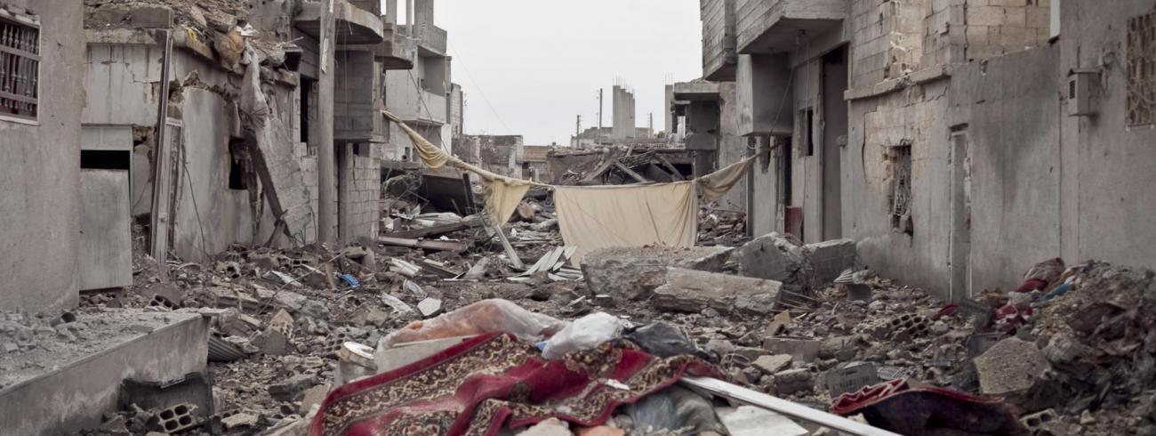 De stad Kobane in het noorden van Syrië ligt net als andere delen van het land in puin en is zo goed als ontvolkt. © tl