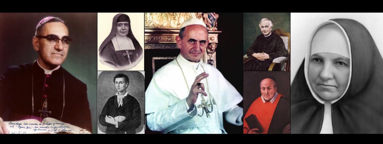 Van links: Oscar Romero, zuster Nazaria, Nunzio Sulprizio, paus Paulus VI, Francesco Spinelli (boven), priester Vincent Romano en zuster Maria Kasper.