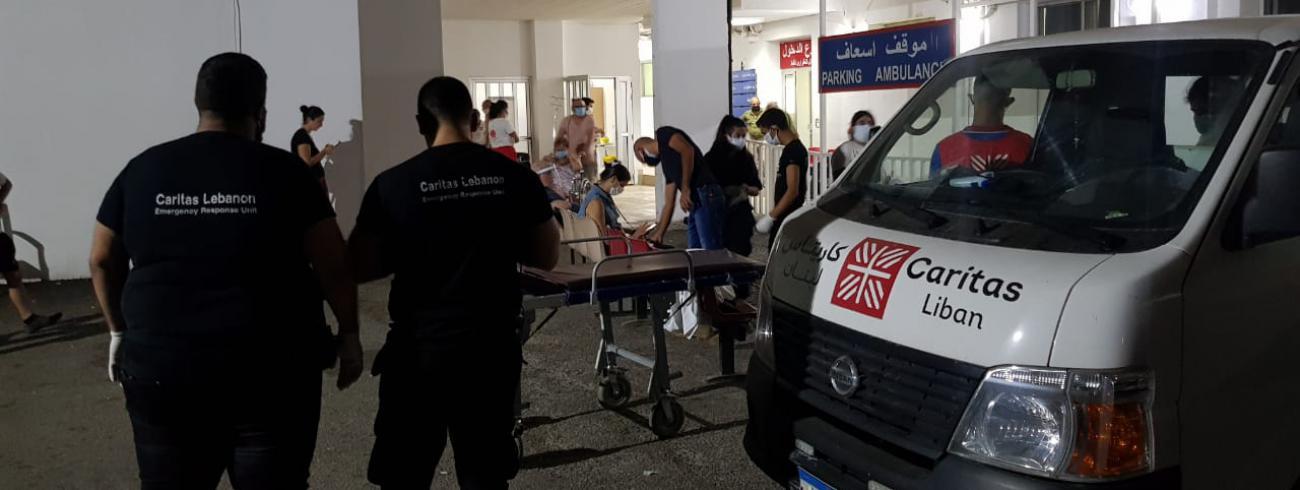 De hulpverlening kwam al snel op gang © Caritas Libanon