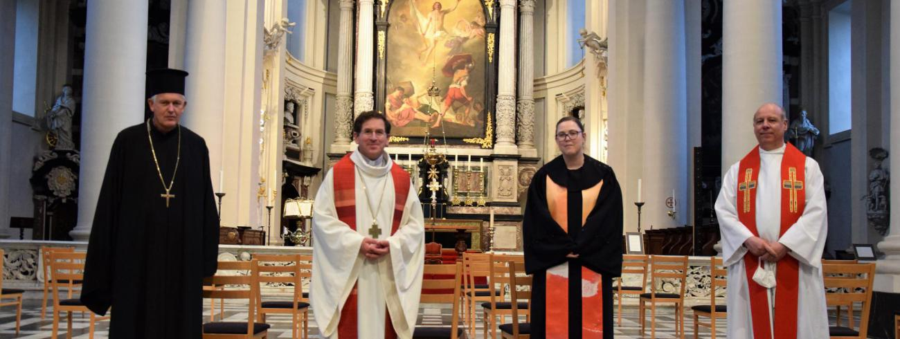 Vader Bernard Peckstadt, Mgr. Lode Aerts, ds. Jannica de Prenter en ds. Jelle Brouwer  © Patrick Desmarets