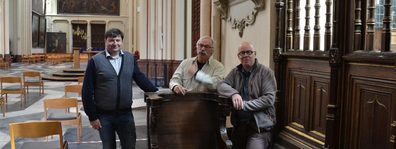 Kris Vanysacker, Toon Breyne en Alexander Declercq van de kerkraad Sint-Maarten Sint-Niklaas Ieper. © Kerkraad Sint-Maartenskathedraal