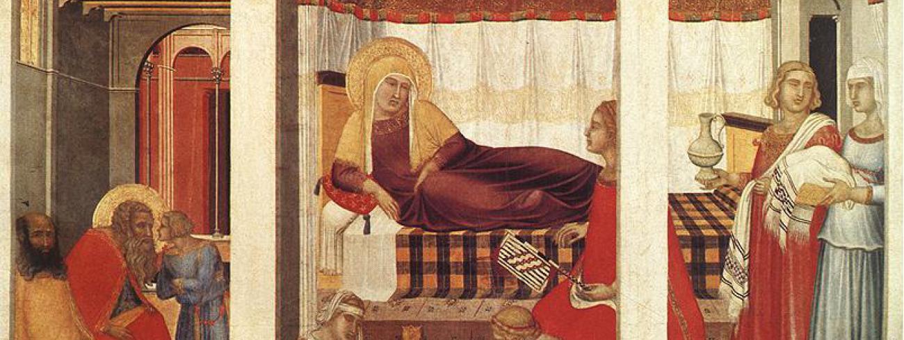 Maria Geboorte - triptiek door Pietro Lorenzetti (1342)