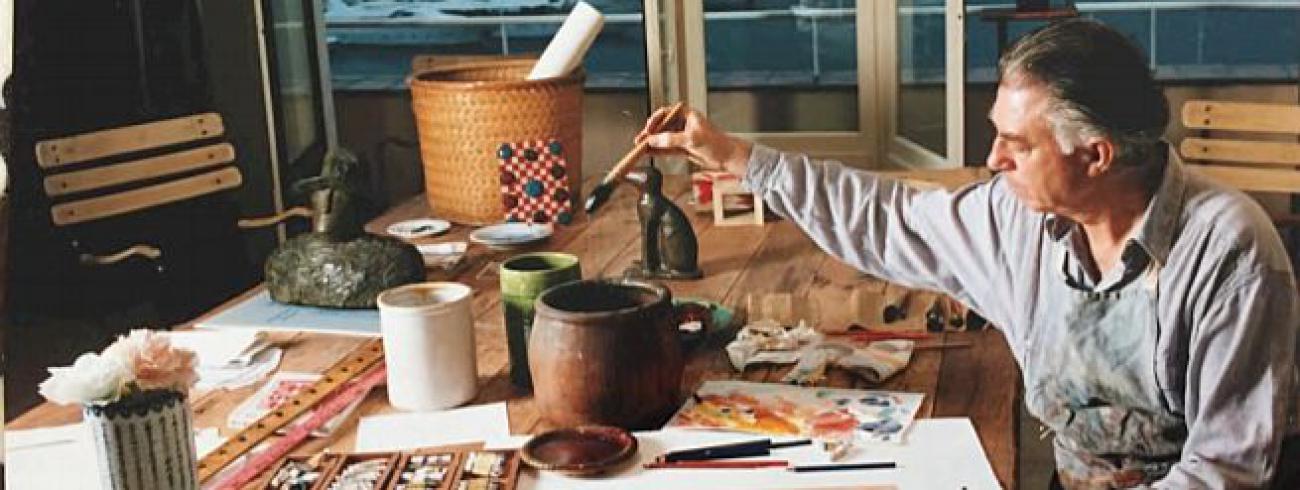 Folon in zijn atelier © Folon Stichting