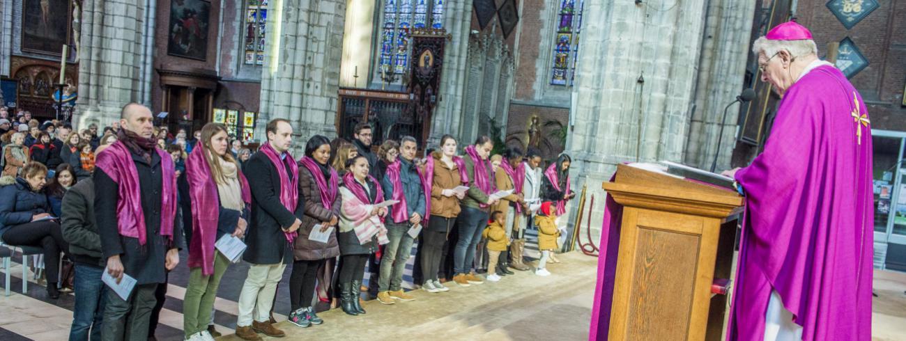 Catechumenen 1ste zondag van de vasten 2018  © Bisdom GEnt, foto: Frank Bahnmüller