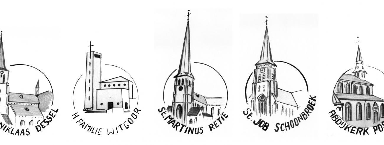Logo's van de 5 kerken © Pastorale Eenheid Heilige Augustinus