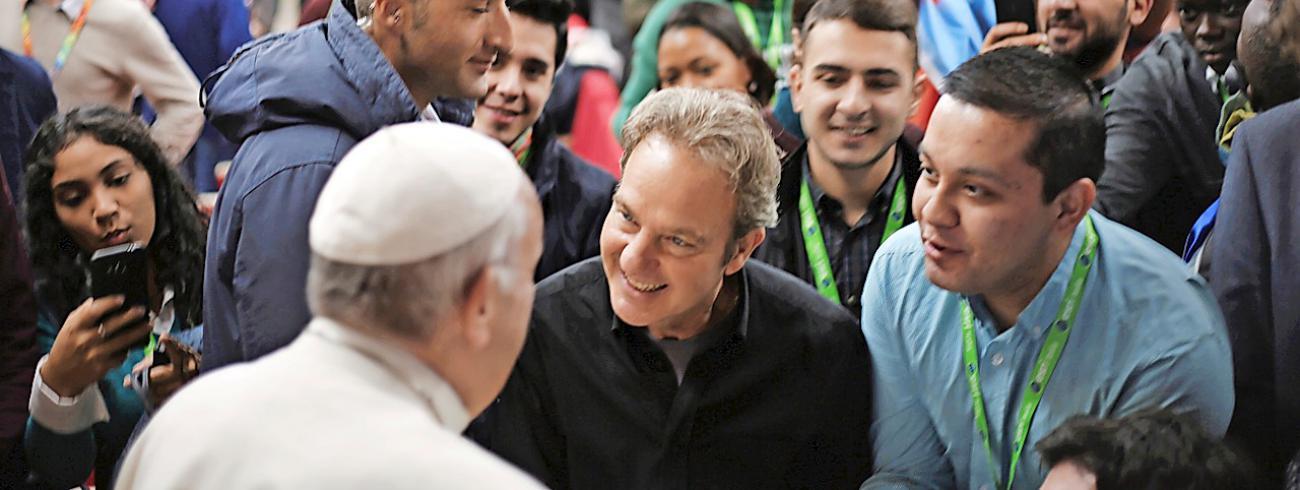 'Zeg wat je denkt', drukte de paus de jongeren op het hart. © Vatican News/Santiago Perez de Camino