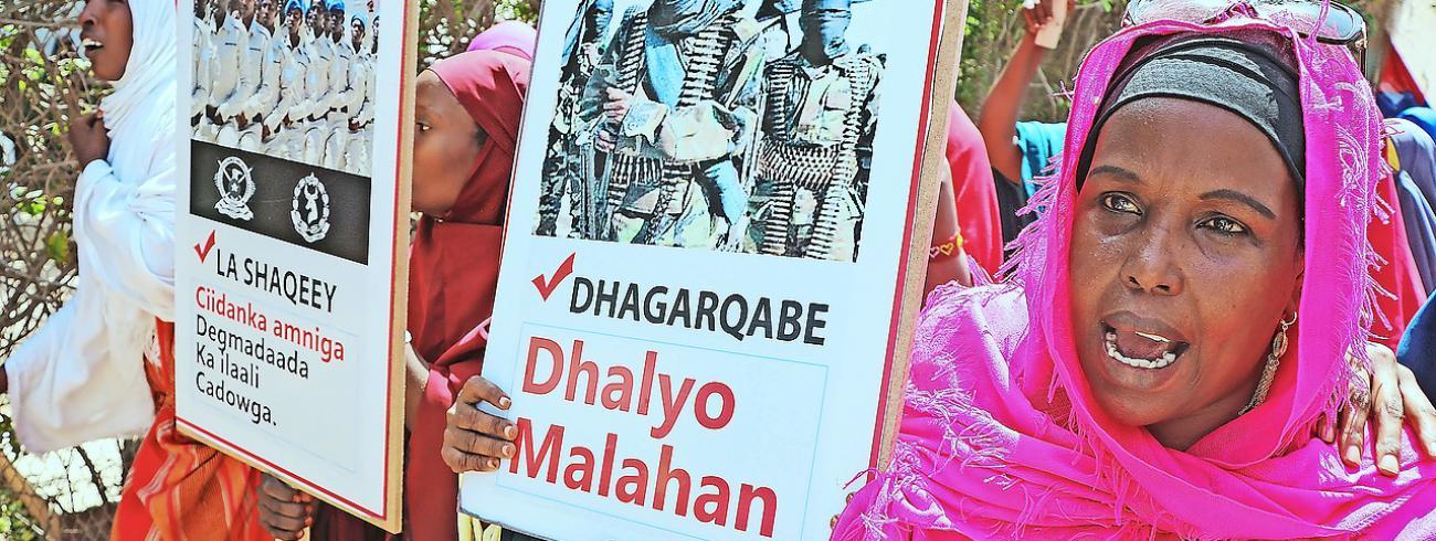 Begin dit jaar protesteerden Somalische vrouwen tegen de acties van de islamistische terreurgroep Al-Shabaab. © Belga Image