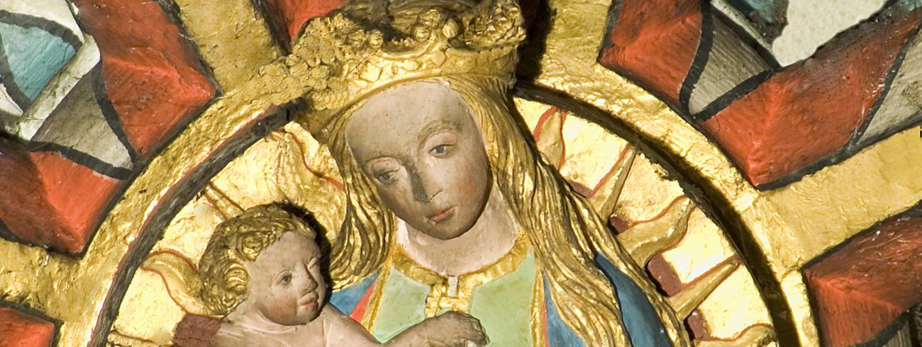 Sluitsteen uit de Venerabelkapel in de Sint-Gummaruskerk, einde 15de eeuw