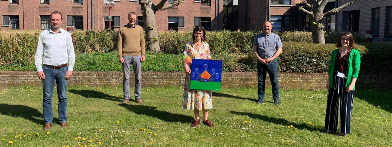 An Haekens (midden) bij de uitreiking van de Prijs Spirituele Zorg 2021. © Beroepsvereniging voor Zorgpastores
