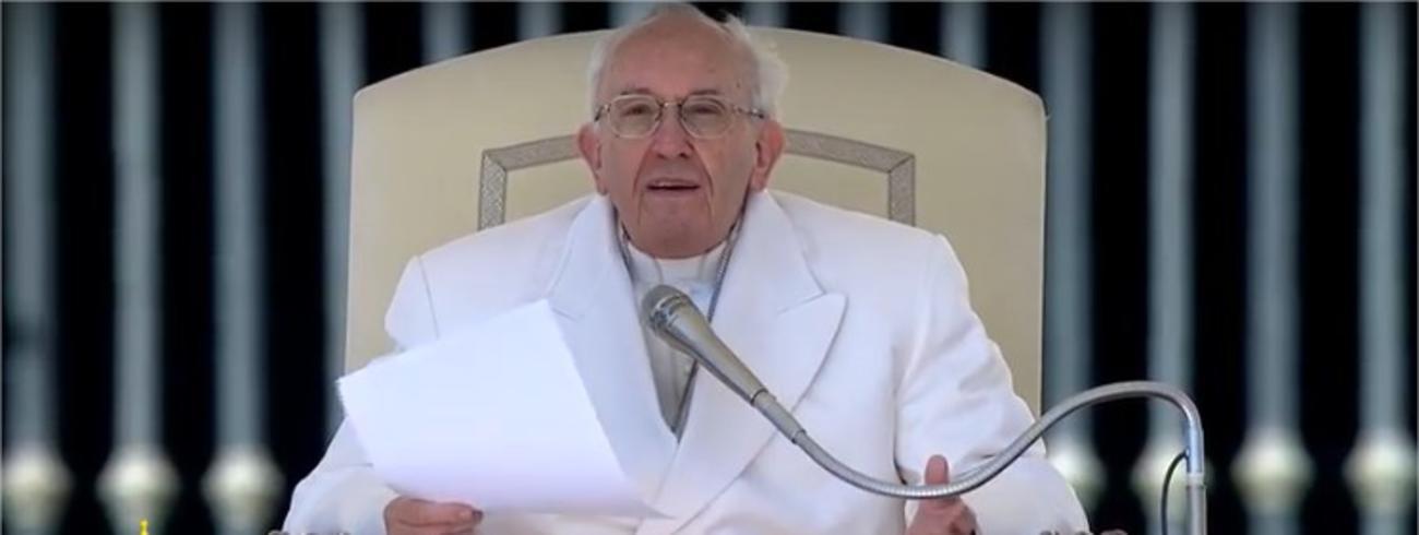 Paus Franciscus tijdens de algemene audiëntie van woensdag 19 april 2017 © CTV