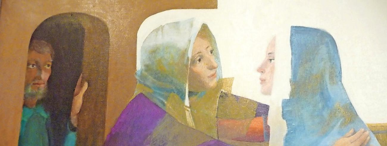 'Bezoek van Maria aan haar nicht Elisabet', een luik uit het veelluik van Arcabas over de geboorte en de kindertijd van Jezus dat de vergaderzaal van de Belgische bisschoppenconferentie opluistert. © Anne Vandenhoeck