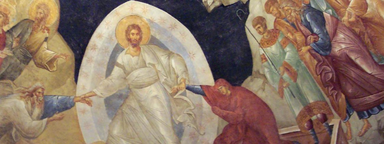 Deze fresco toont Christus die in de dood afdaalt om mensen eruit op te tillen.