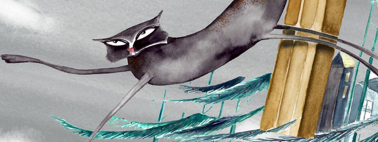 De kat en de duif © Illustratie Nilu Kuhpour