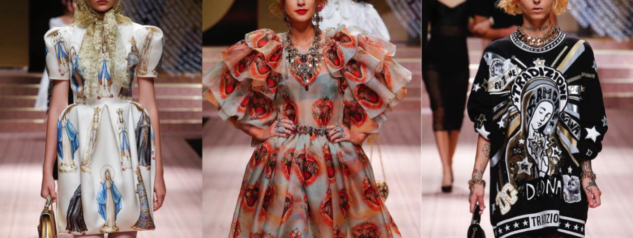 Behalve prints die zo uit een barokkerk lijken weggelopen, stunt Dolce & Gabbana in zijn zomercollectie 2019 met een heuse madonna met kind op de catwalk.  © Dolce & Gabbana